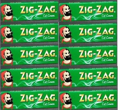 10 PACKS Zig Zag Green Rolling Papers Cut Corners *Best Price* *USA SHIPPED*
