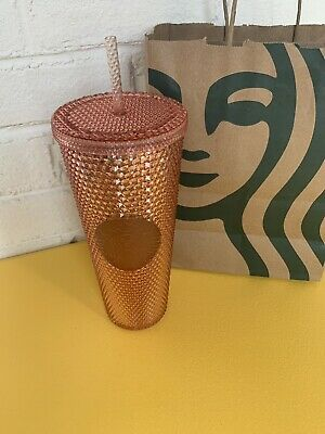Starbucks Tumbler 2019 Rose Gold Radiant Iridescent Jeweled 24oz Cold Cup