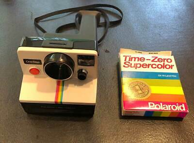 vintage Polaroid SX-70 One Step White Rainbow Stripe Land Camera, Strap, Film