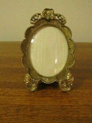 Vintage Gold Filigree Easel Photo Picture Frame Ornate Oval Convex Glass