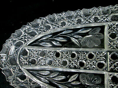 ABG Crystal Engraved Glass Oval Banana Boat Relish / Celery / Candy / Nut Dish