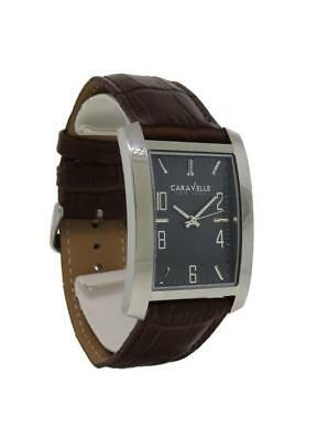 Caravelle New York 43A119 Men's Gray Rectangular Analog Brown Leather Watch