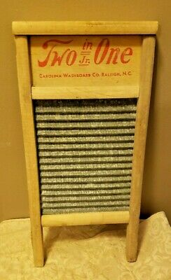 Vintage Carolina Washboard Co. Two In One Jr. Wood & Galvanized Raleigh N.C.