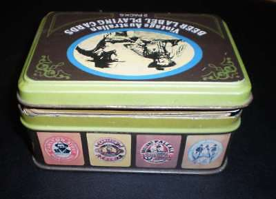 Two packs of beer playing cards in original tin
