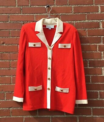 471bd08a7a St.John Collection by Marie Gary Orange Tangerine Cardigan Sweater Jacket  Size 8