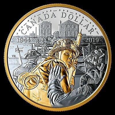 2019 Canada 75th anniv of D-day dollar gold plated silver - coin only