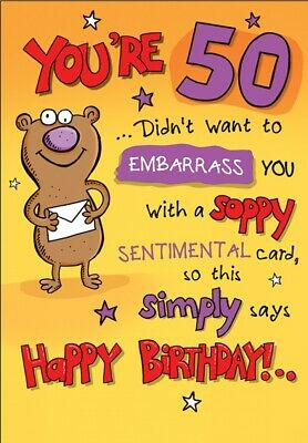 Large Fun Male Happy 50th Birthday Greeting Card 50 Today - 9 x 6 Inches