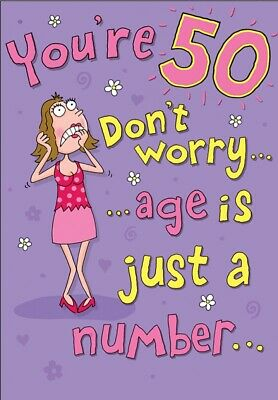 Large Fun Female Happy 50th Birthday Greeting Card 50 Years Old Today - 9 x 6 In