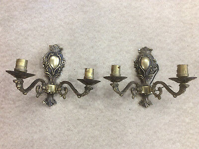 Vintage Metal Double Wall Lights, Traditional Ornate Antique Brass, Twin Lights