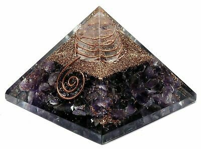 Large(70mm)Natural Amethyst Orgone Pyramid EMF Protection Feng Shui Table Decor