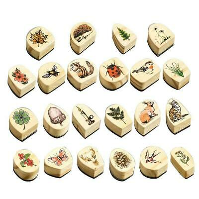 22 Style Rubber Wooden Stamps Animal Plants Seal Wax Ma Stamp For CraftCard Q1J8