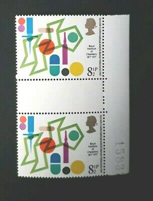 The Royal Institute of Chemistry 1877- 1977 8 1/2P ROYAL MAIL  STAMP GUTTER PAIR