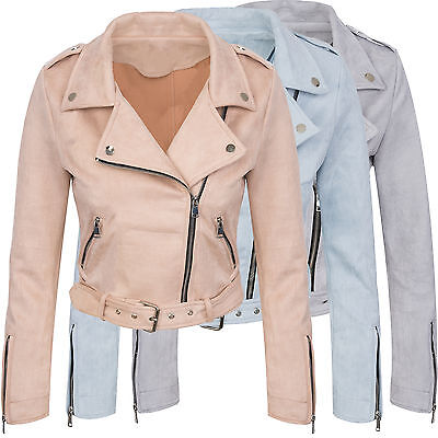 Ladies Faux Leather Transitional Jacket Suede Look Summer D-313 New