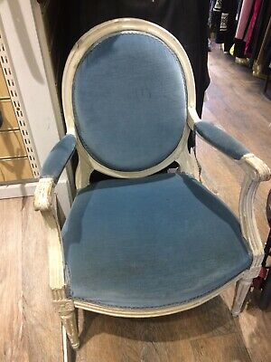 Antique French Louis Style Chair Velvet upholstered 16/17c Collection Only.