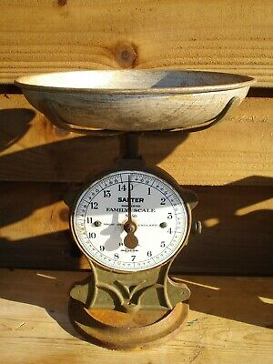 Vintage Salter Family Scales No.50 Cast Iron, Brass Face,Original Metal Pan 14lb