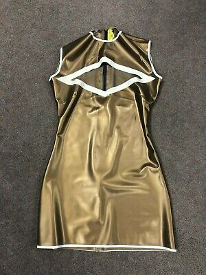 542d88c972 Latex Rubber Ladies skate DRESS with zip back PS GOLD/WHITE size 8 £200