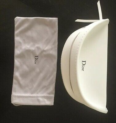 Genuine Dior Large White Glasses Sunglass Case inc Cloth and Pouch - New