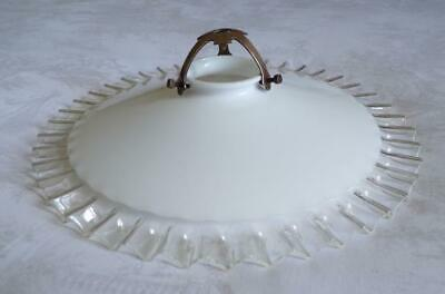 Vintage French Translucent White Glass Fluted Edge Light Shade & Brass Gallery