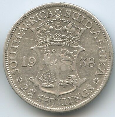 G9528 - Südafrika 2½ Shillings 1938 KM#30 Silber RAR George VI. South Africa
