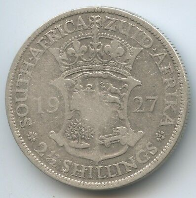 G9526 - Südafrika 2½ Shillings 1927 KM#19.2 Silber RAR George V. South Africa