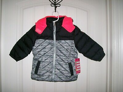 c5d900a65d2 New Pink Platinum Baby Girl's Active Black & Coral Puffer Jacket Size 24  Months