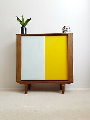 Super Mid Century Yellow & White Glass Cabinet Bookcase Sideboard Retro Vintage
