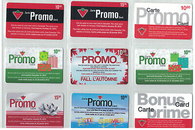 Canadian Tire Gift Cards - 9 Promo Cards selection  lot# ctc 840