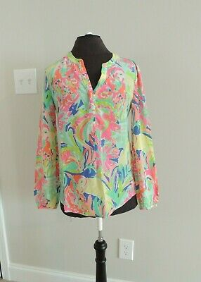 NWT LILLY PULITZER SLEEVELESS SILK STACEY TOP POOL BLUE PINK LEMONADE XS