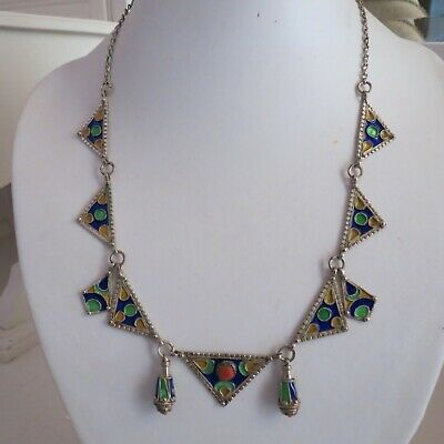 Stunning sterling silver vintage enamel necklace Chinese?