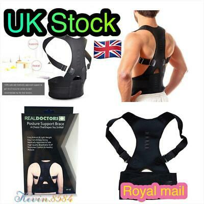 UK Magnetic Back Posture Corrector Men Women Support Lumbar Shoulder Belt Brace