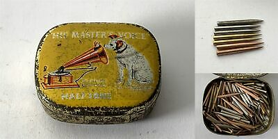 Antique HIS MASTERS VOICE Half Tone Phonograph Gramophone Needle Tin & Contents