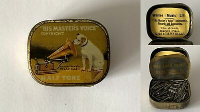 Antique HIS MASTERS VOICE Half Tone Gramophone Phonograph Needle Tin +Contents