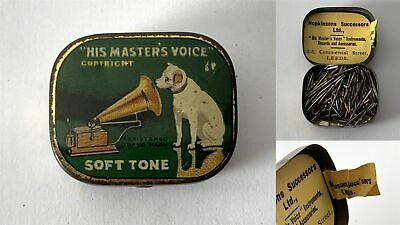 Antique HIS MASTERS VOICE Soft Tone Gramophone Phonograph Needle Tin + Contents
