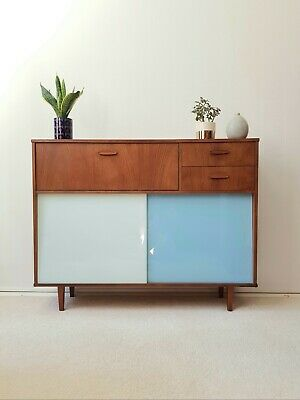 Super Mid Century Blue White Glass Cabinet Sideboard Bookcase Retro Vintage 60s