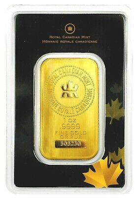 Royal Canadian Mint RCM 1 oz Gold Bar Sealed with Assay Certificate .9999 Fine