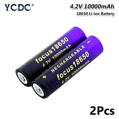 18650 Li-ion Battery 10000mAh 3.7V Rechargeable For LED Flashlight Torch 2Pcs C