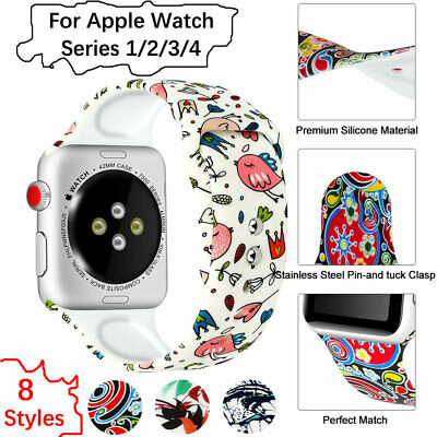 Silicone Strap Wrist Band For iWatch Apple Watch Series 1/2/3/4 38 40 42 44 mm