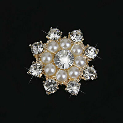 10 pcs Faux Pearl Rhinestone Flat Back Buttons Embellishments Crafts 24mm