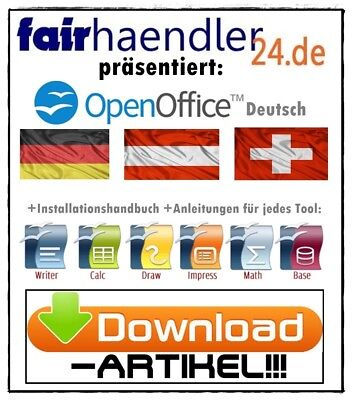DOWNLOAD OPEN OFFICE Premium Deutsch Paket Büro Software Tools Suite  Windows NEU