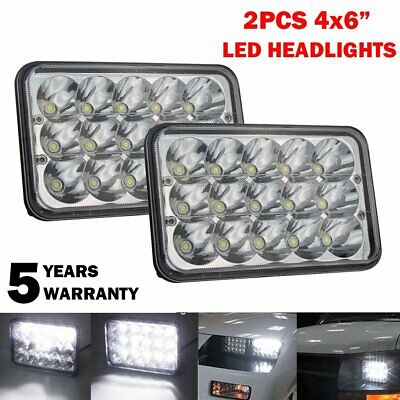 """Pair 4""""x6"""" LED Headlight 45W Bulbs Clear Sealed Hi/Low Beam Replacement DRL CAR"""