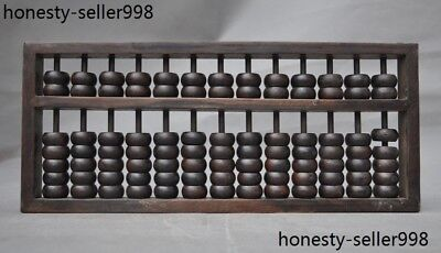 Old Chinese huanghuali wood hand carved Ancient Abacus calculation tool abacus