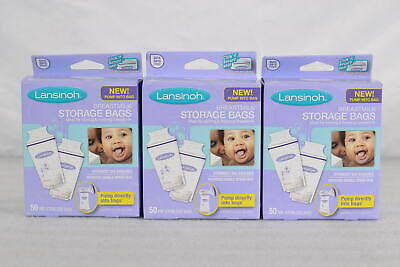 LOT OF 3, Lansinoh Pre-Sterilized Breastmilk Storage Bags- 50 Count