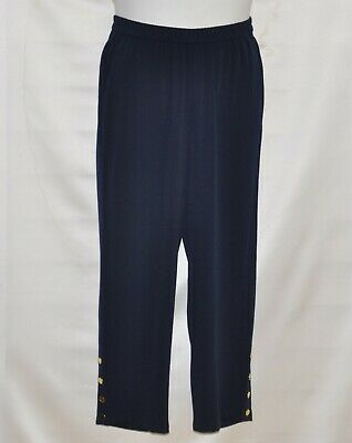 Linea by Louis Dell'Olio Pebble Crepe Pull-On Crop Pants w/ Studs Size S Navy