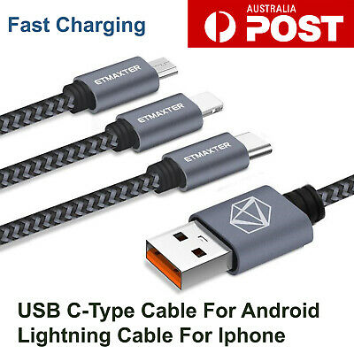 USB-C Type & Lightning Data Charger Cable for Samsung Huawei Xiaomi Google Apple