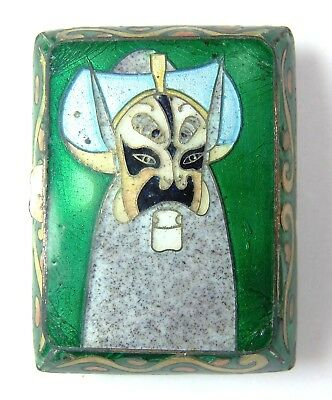 Cloisonne Enamel Painted Chinese Opera Mask Snuff Pill Trinket Box Signed