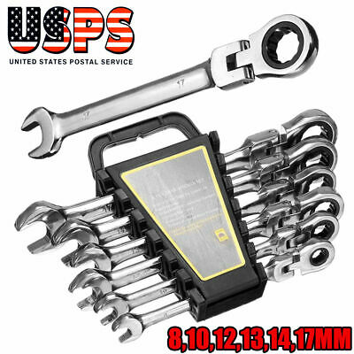 6 Pcs Gear Wrench Reversible Ratcheting Combination Wrench Set Flexible Metric