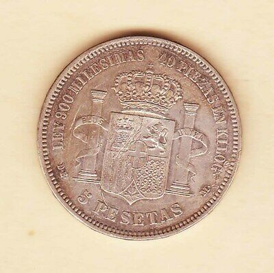 Spain.1871 - King AMADEO 5 Pesetas. Spanish Silver CROWN. XF nice toning