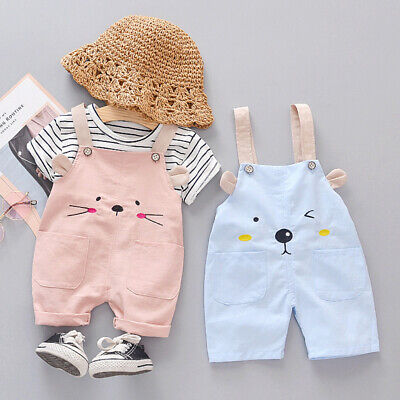 Cute Kid Baby Girl Cartoon Outfits Clothes T-shirt Tops+Overalls Shorts 2PCS Set