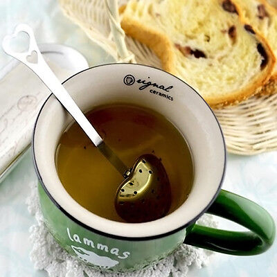 1PC Stainless Steel Spoon Strainer Infuser Steeper Heart Shaped Cute w/