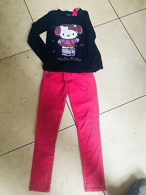 Hello Kitty Navy Top Bnwt Age 9-10 And Pink Skinny Jeans Age 9-10